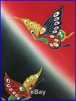 Vintage Japanese Silk Kimono FURISODE, Butterfly, Red K1426