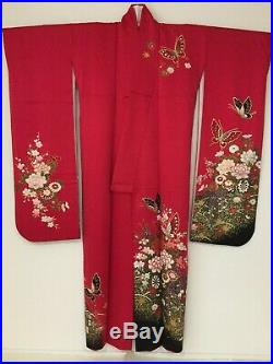 Vintage Japanese Silk Kimono FURISODE, Butterfly, Red K1435