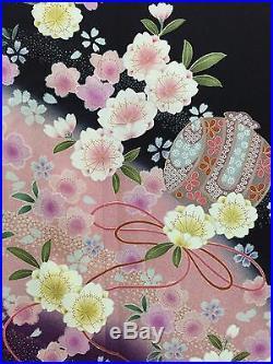 Vintage Japanese Silk Kimono FURISODE, Cherry Blossom, Black K835