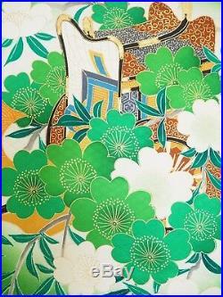 Vintage Japanese Silk Kimono FURISODE, Cherry Blossom, Green K1171