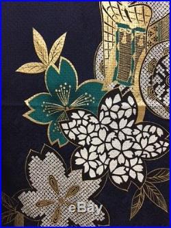 Vintage Japanese Silk Kimono FURISODE, Cherry Blossom, Navy Blue K1263