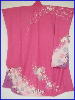 Vintage Japanese Silk Kimono FURISODE, Cherry Blossom, Pink K1306