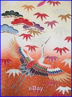 Vintage Japanese Silk Kimono FURISODE, Crane, Ume, Cream Red Black K565