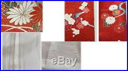 Vintage Japanese Silk Kimono FURISODE, Gosho-guruma, Peony, Ume, Red K345