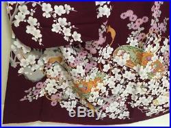 Vintage Japanese Silk Kimono FURISODE, Red K1195