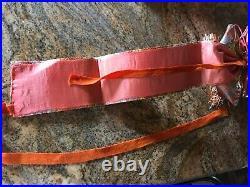 Vintage Japanese Silk Obi Kimono Belt Sash Coral Red and Gold in Original Box