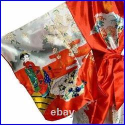 Vintage Japanese Silk Satin Kimono Robe One Size Red White Floral
