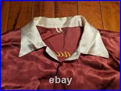 Vintage Japanese Souvenir Shirt Dragon & Map Original Silk Embroidery 1940s 50s