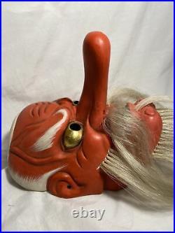 Vintage Japanese Tengu Oni Mask Hand Carved Red Demon Japan