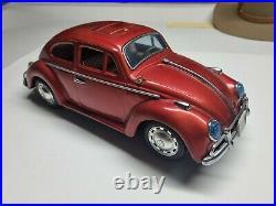 Vintage Japanese Tin Metal Bump'N Go 15 Inch Red Volkswagen VW Beetle Working