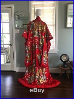 Vintage Japanese Uchikake Furisode Kimono DRAGONS Red & Gold