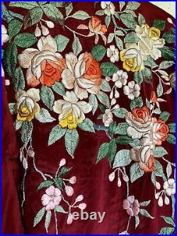 Vintage Japanese WWII Era Silk Floral Embroidered Kimono Rich Red Robe Handmade