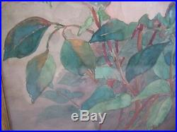 Vintage Japanese Watercolor Signed and with red stamp PINK Yellow ROSES