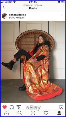 Vintage Japanese Wedding Uchikake Gold Silk Kimono Mandarin Duck Robe Red Birds