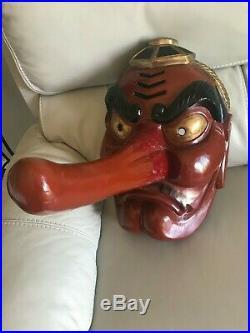 Vintage Japanese Wooden Tengu Mask Extra Large Rare Item