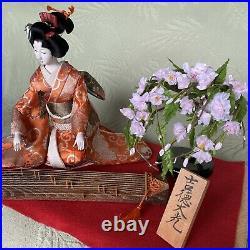 Vintage Japanese doll Kimono Geisha Figure H10 Red mat / koto / Cherry tree Zen