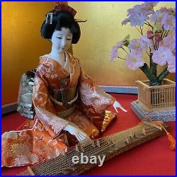 Vintage Japanese doll Kimono Geisha Figure H10 Red mat koto Cherry tree Zen