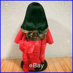 Vintage Japanese ichimatsu doll kimono 17.3 inch Classy face Red kimon m