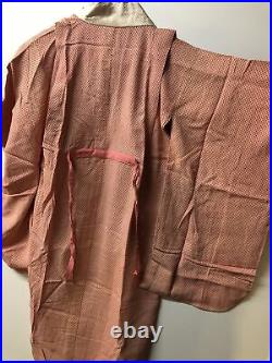 Vintage Japanese kimono, SILK, IRO-UCHIKAKE Women Girls Robe Pink Red Lucky