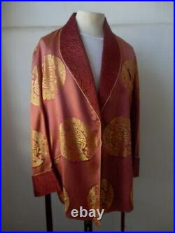 Vintage Japanese silk smoking jacket dragon motif