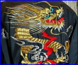 Vintage Kimono & Belt Antique Dragon Embroidered Silk Japanese Black Red Gold