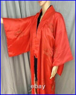 Vintage Kimono Robe Size Medium M Red, Silky, Gold Embroidered Dragon & Pagoda