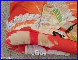 Vintage Kimono Silk Wedding Robe Red Uchikake Cranes Lined Japan 1960s
