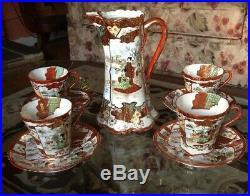 Vintage Kutani Chocolate Coffee Pot 4 Cups, saucers Red gold design porcelain Set