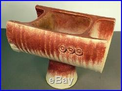Vintage MCM Japanese Studio Pottery Red White Glaze Ikebana Vase Bonsai Planter