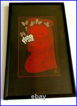 Vintage MCM Kawano Kaoru Japanese Woodblock Child With Flowers and Butterflies