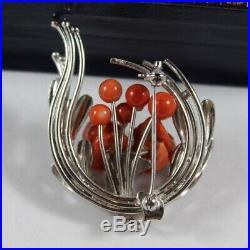 Vintage Metal Carved Flower Natural Japanese Red Coral Pin Brooch