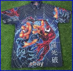 Vintage Movie Spiderman Japanese Button Up Shirt 2002 XL