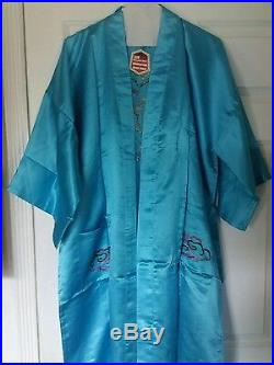 Vintage NEW 50s 60s Red Golden Bee Hand Embroidered Womens Robe Kimono Sleepwear