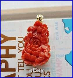 Vintage Natural Japanese Ox-Blood Red Coral Pendant + 9K Yellow Gold