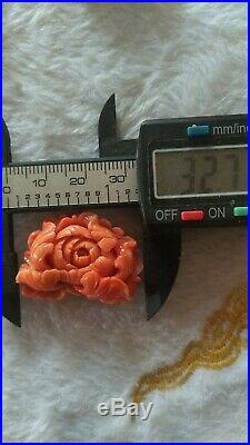 Vintage Natural momo Coral Japanese Red flowers 10.5 g for Brooch/ Pendant