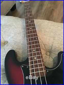 Vintage No Name Japanese Made Bass Electric Guitar Red and Black Bass Guitar
