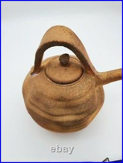 Vintage Old Asian Japanese Red Clay Pottery Tea Pot 6'' T 6.5''W