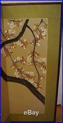 Vintage Oriental Japanese Chinese 4 Panel Folding Screen Cherry Blossom Design