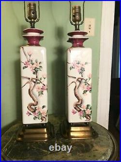 Vintage Pair Asian Lamps- Artist Sophia Beautiful Japanese Cherry Blossoms