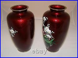 Vintage Pair Japanese Ginbari Cloisonne Ox Blood Vases Circa 1950 Late Showa Per