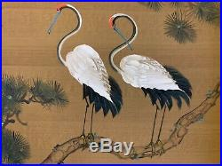 Vintage Pair of Japanese Red Crowned Cranes Painting with Gold Frame