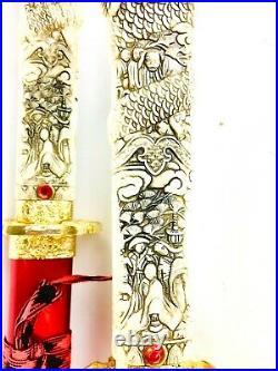 Vintage Pair of Katana Samurai Swords 440 Stainless Steel Dragon Carved Handles