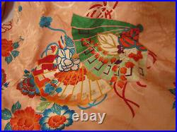 Vintage Pink Peach Red Silk Japanese Furisode Kimono Asian Fans Flowers 1930s-50