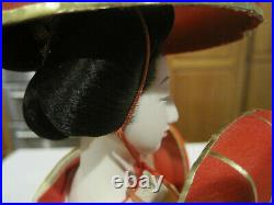 Vintage Porcelain Geisha Doll with Gold Kimono and Seven Red Hats18 TallLBDL1