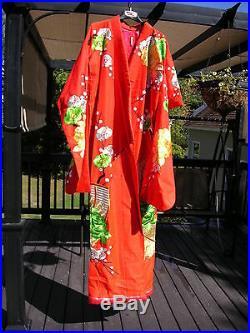 Vintage Red Basketweave Silk Uchikake Japanese Wedding Kimono