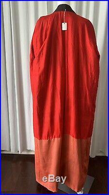Vintage Red Black Gray Kimono Lined In Silk