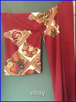 Vintage Red Floral Silk Kimono Hand Painted Robe Burlesque Gold