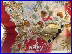 Vintage Red, Purple, Gold Uchikake Wedding Japanese Kimono Crane Japan