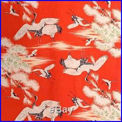 Vintage Red Silk Flying Crane Pinecone Pattern Kimono Fabric