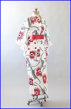 Vintage Red floral cotton Japanese KIMONO wedding coat Jacket Robe
